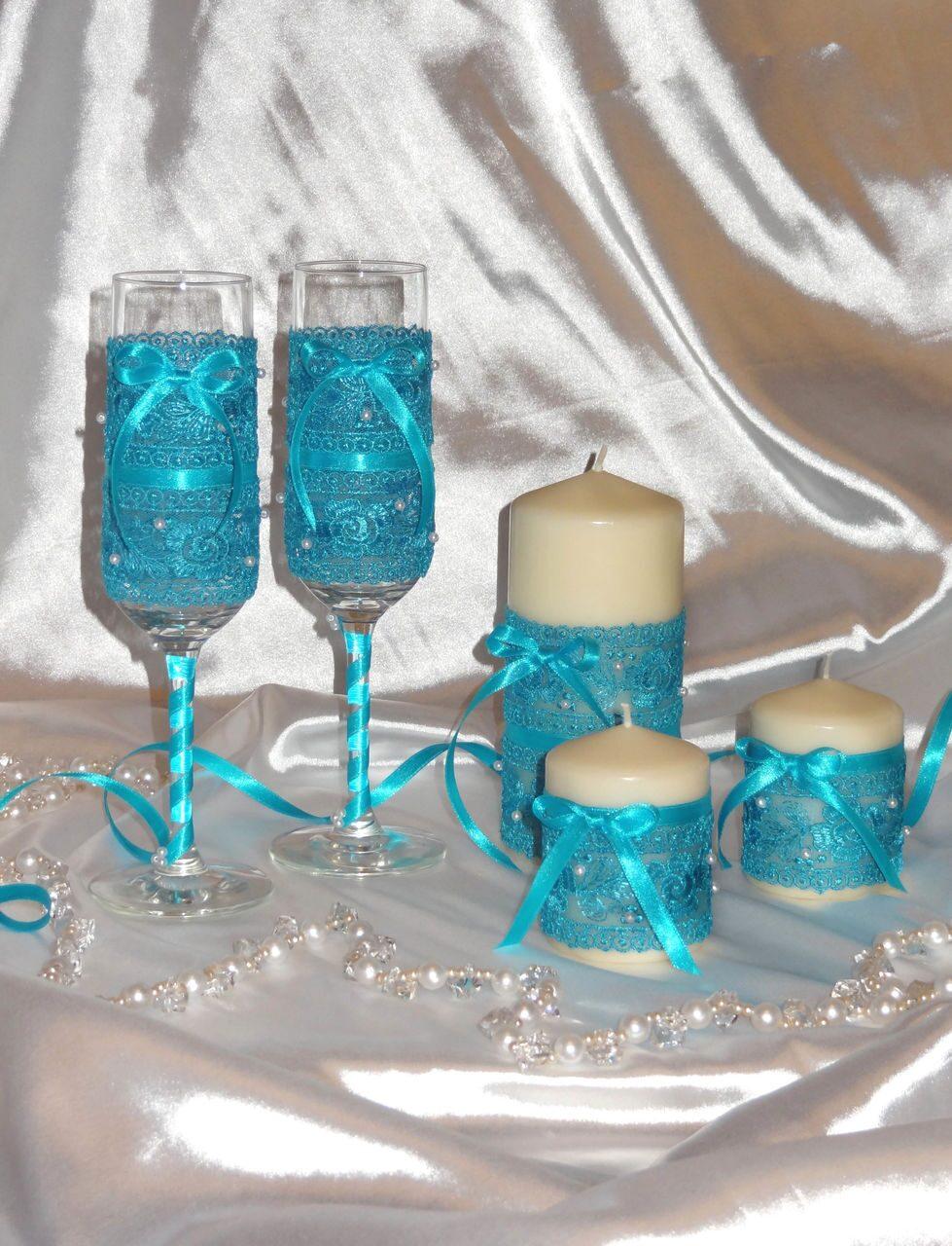 Свечи на свадьбу своими руками бирюзовые 97